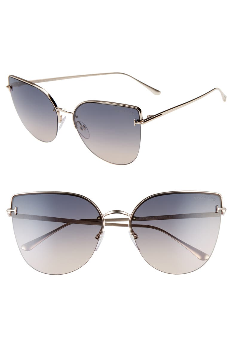 TOM FORD Ingrid 60mm Cat Eye Sunglasses, Main, color, ROSE GOLD/ GREY TO OCHRE