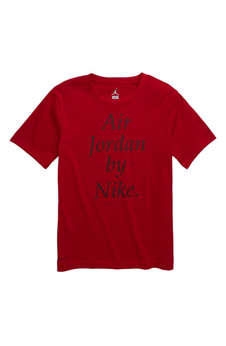 JORDAN Air Jordan by Nike Dri-FIT T-Shirt, Main, color, GYM RED