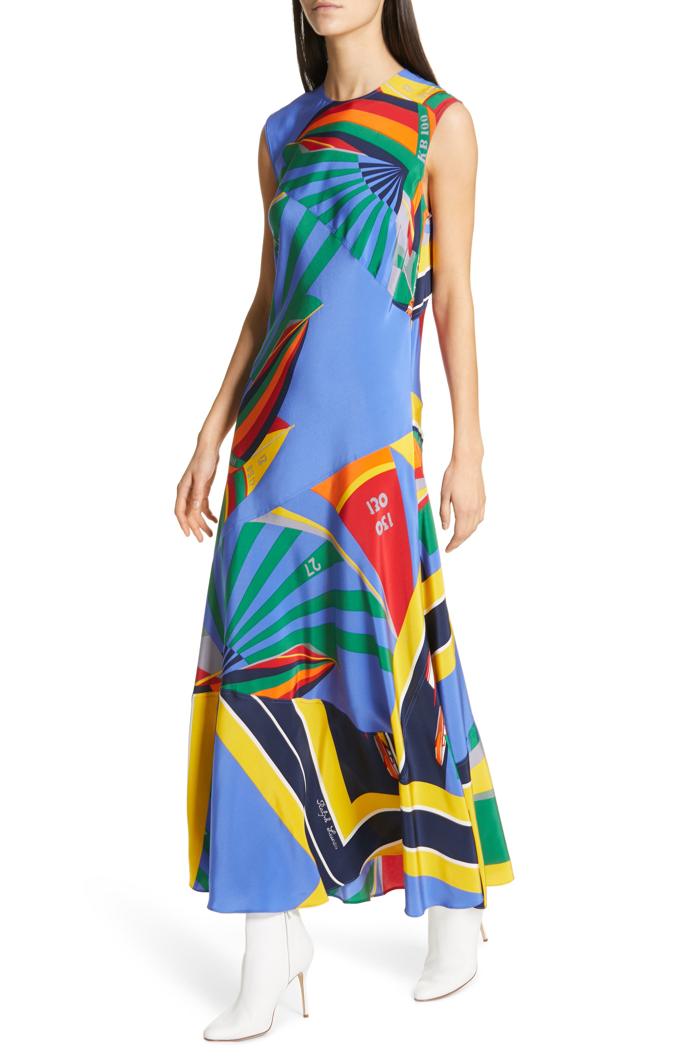 ,                             Sleeveless Silk Maxi Dress,                             Alternate thumbnail 5, color,                             WINDY SAILBOAT PRINT