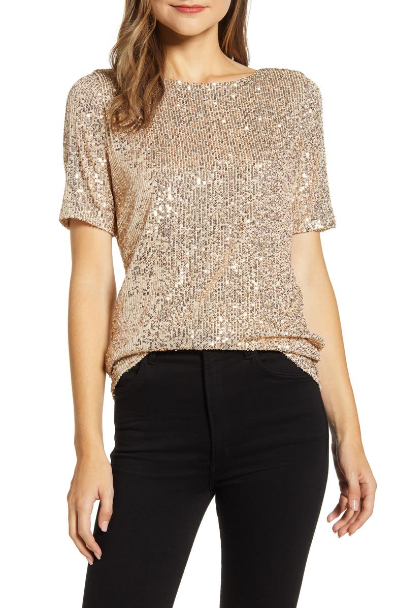 GIBSON x Hi Sugarplum! Holiday Lumiere Ballet Top, Main, color, 718