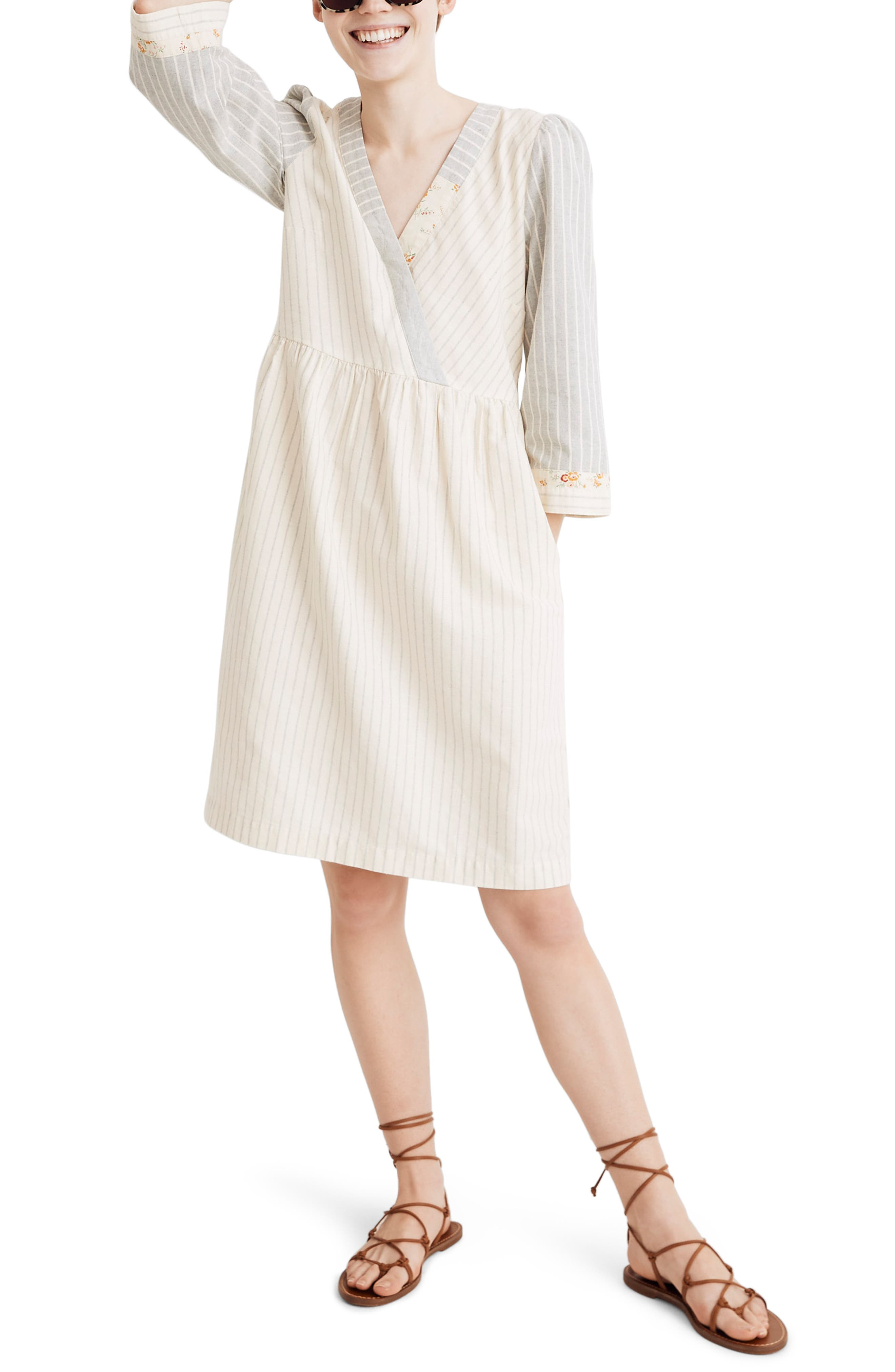 ,                             x The New Denim Project<sup>®</sup> Stripe Mix Long Sleeve Dress,                             Main thumbnail 1, color,                             WHITE SKINNY STRIPE