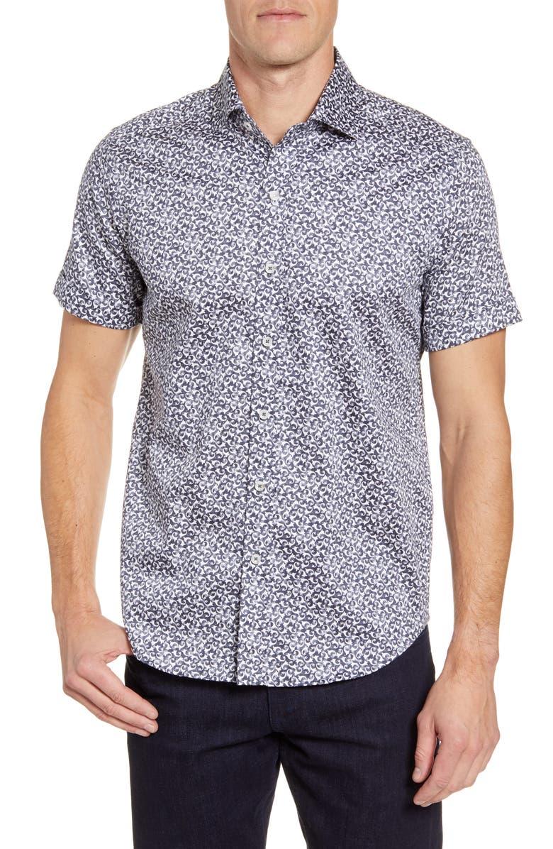ROBERT GRAHAM Reynolds Short Sleeve Button-Up Sport Shirt, Main, color, BLACK