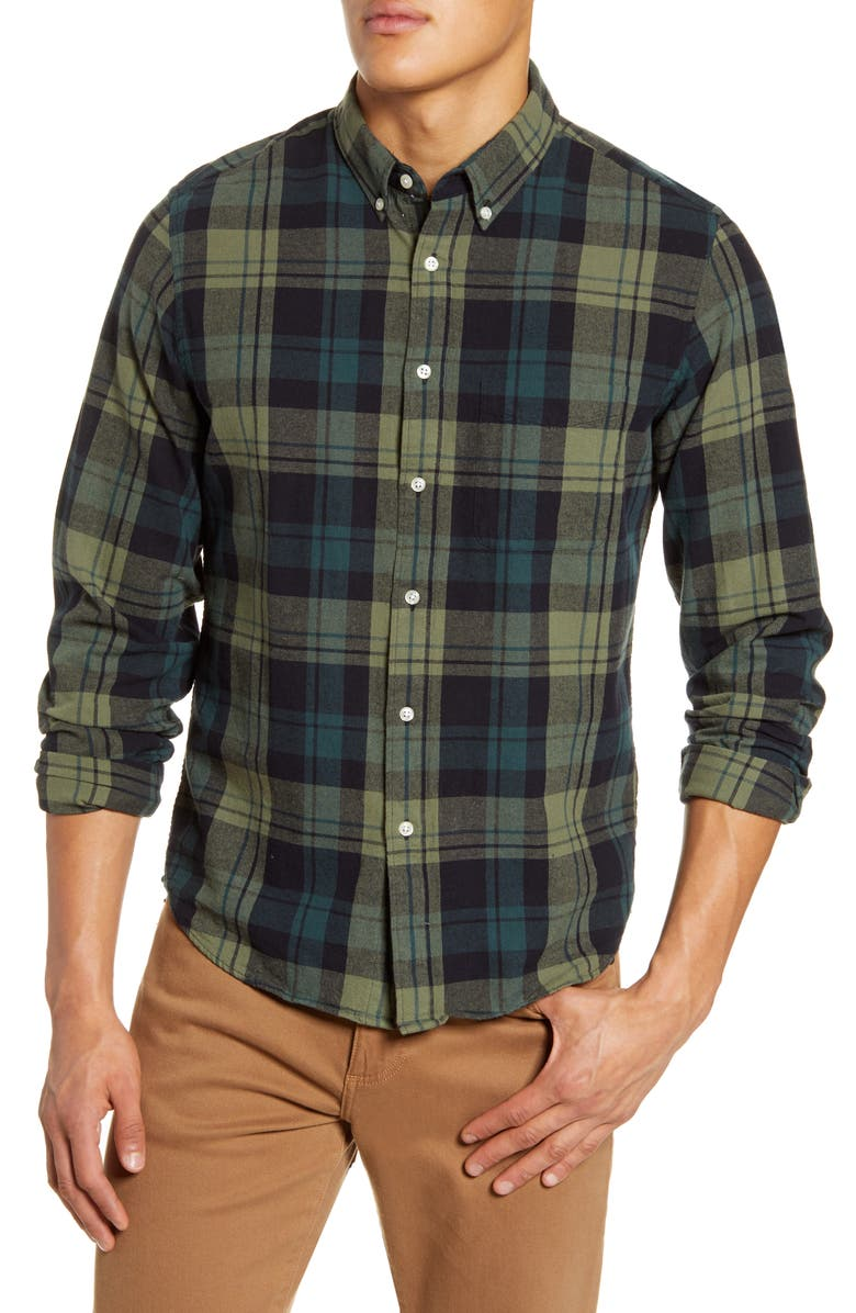 MADEWELL Orsett Plaid Brushed Twill Button-Down Shirt, Main, color, FREDDY PLAID DRIED CLOVER