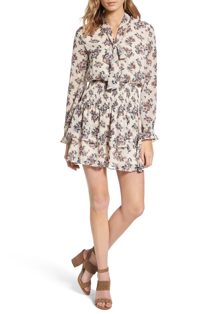 MOON RIVER Floral Print Tie Neck Dress, Main, color, 907