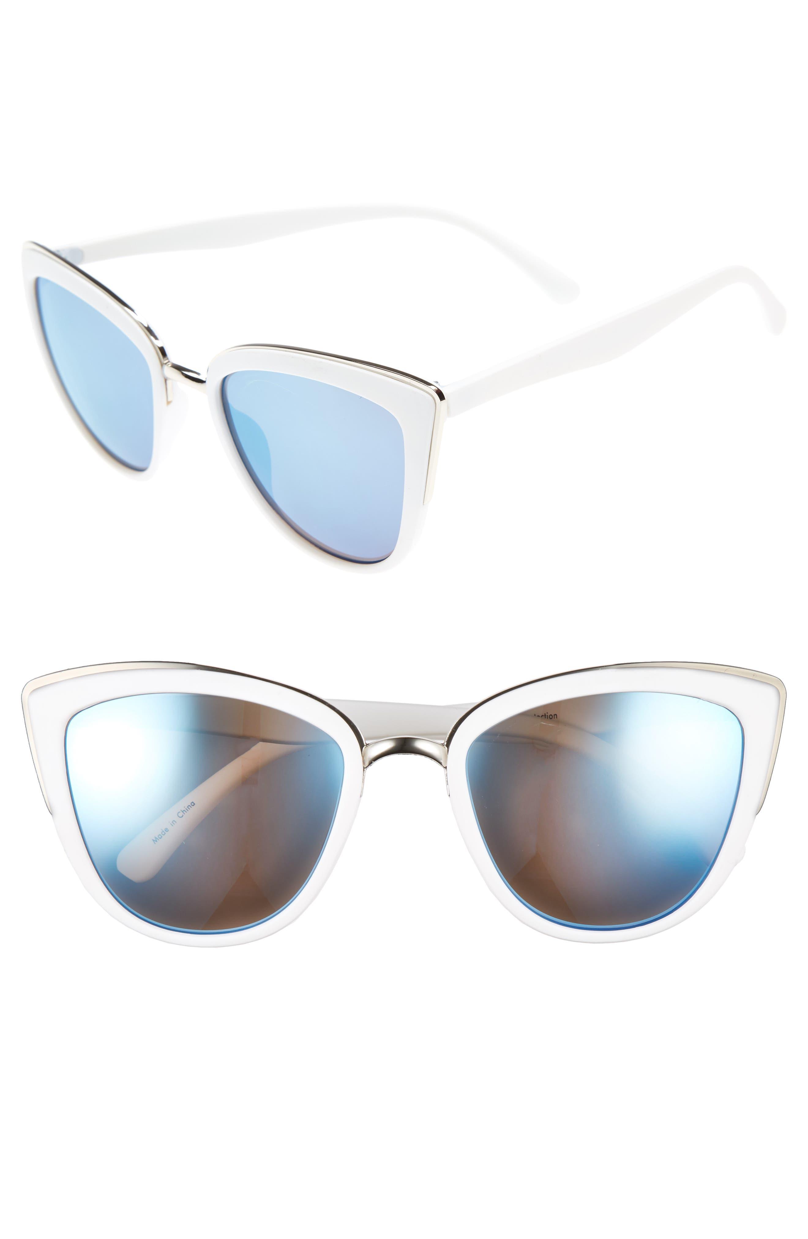 ,                             55mm Metal Rim Cat Eye Sunglasses,                             Alternate thumbnail 9, color,                             100
