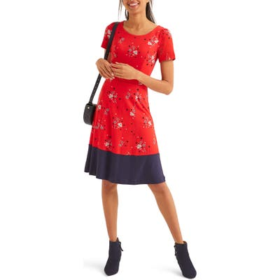 Boden Erica Floral Fit & Flare Dress, Red