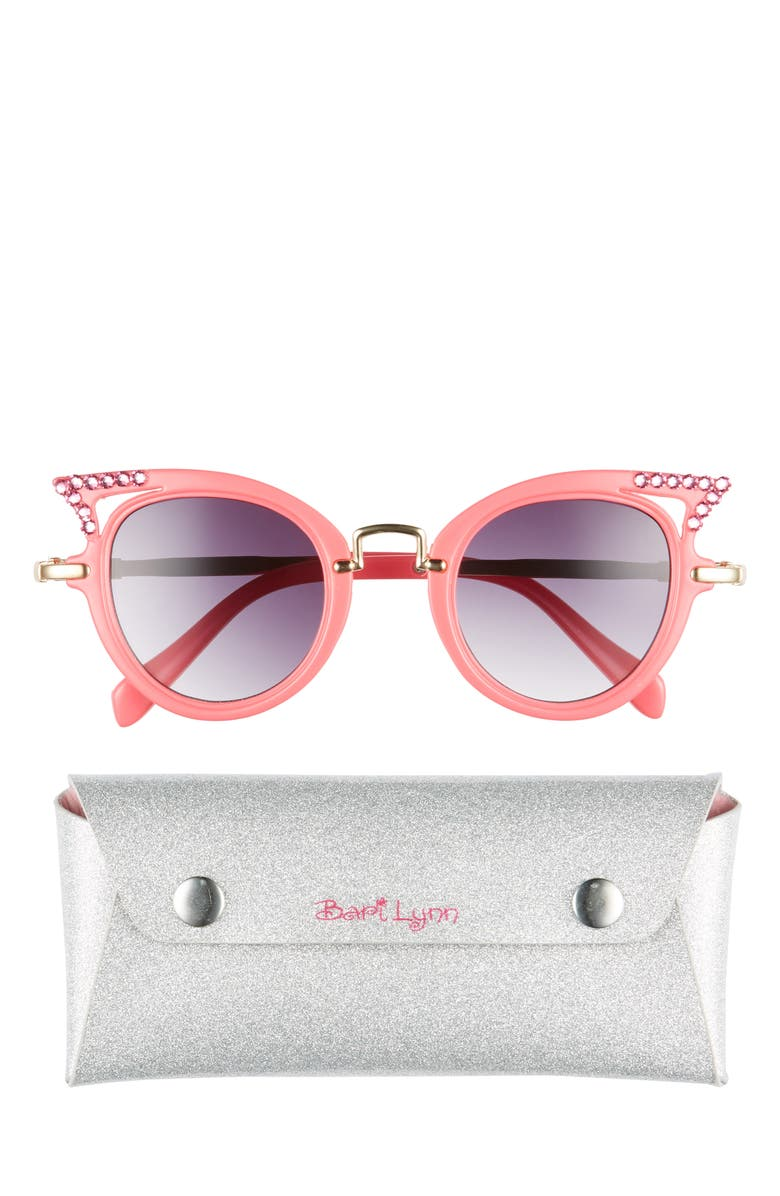 BARI LYNN Pink Cat Eye Sunglasses & Sparkle Case, Main, color, HOT PINK