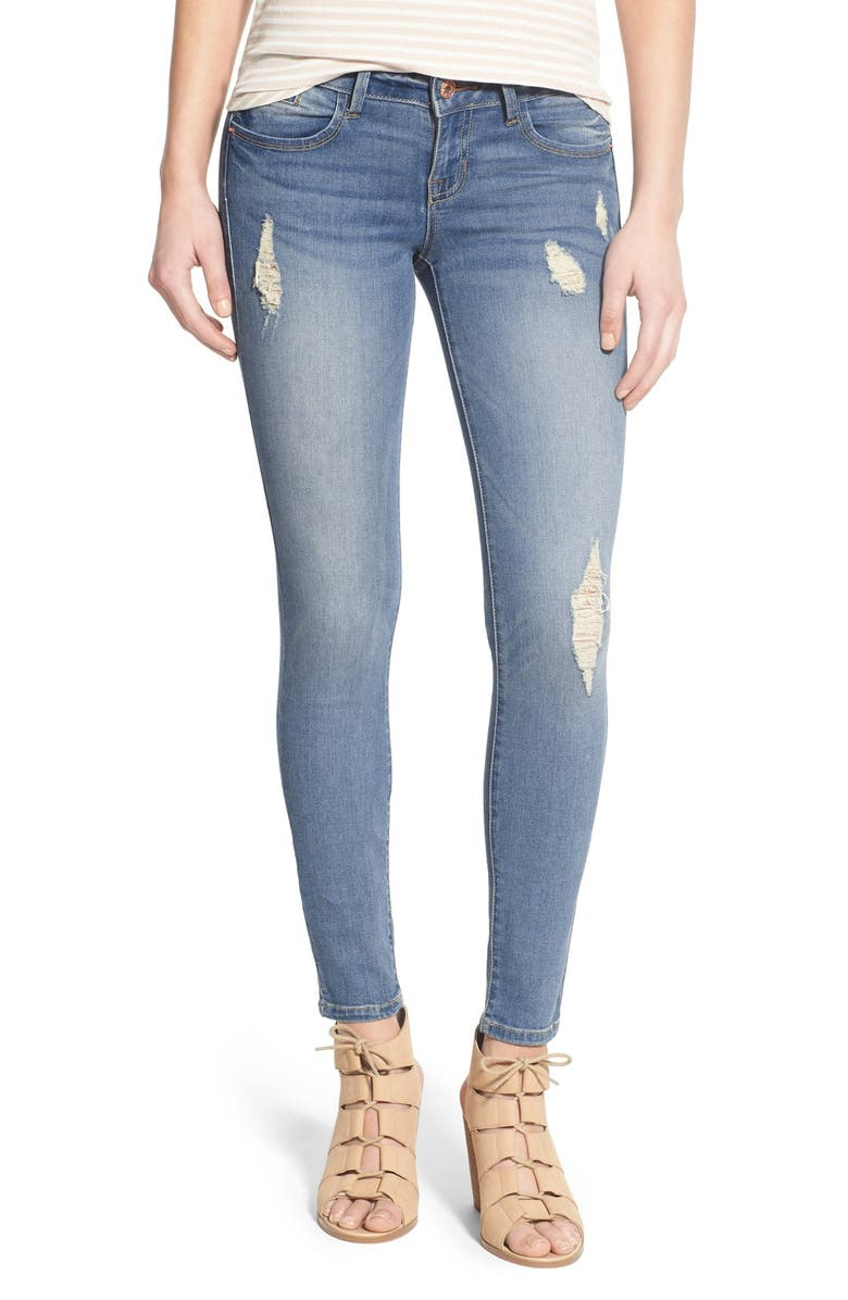 SP BLACK Distressed Skinny Jeans, Main, color, 450