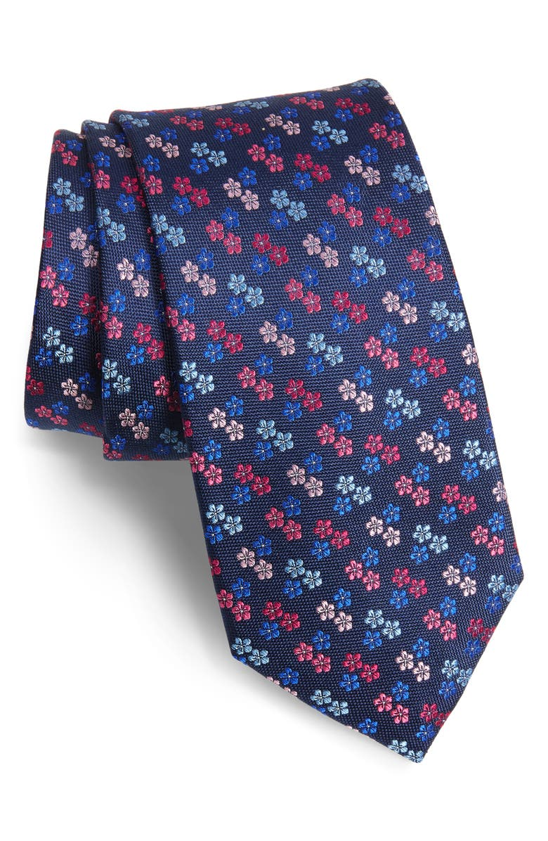 TED BAKER LONDON Floral Silk X-Long Tie, Main, color, 650