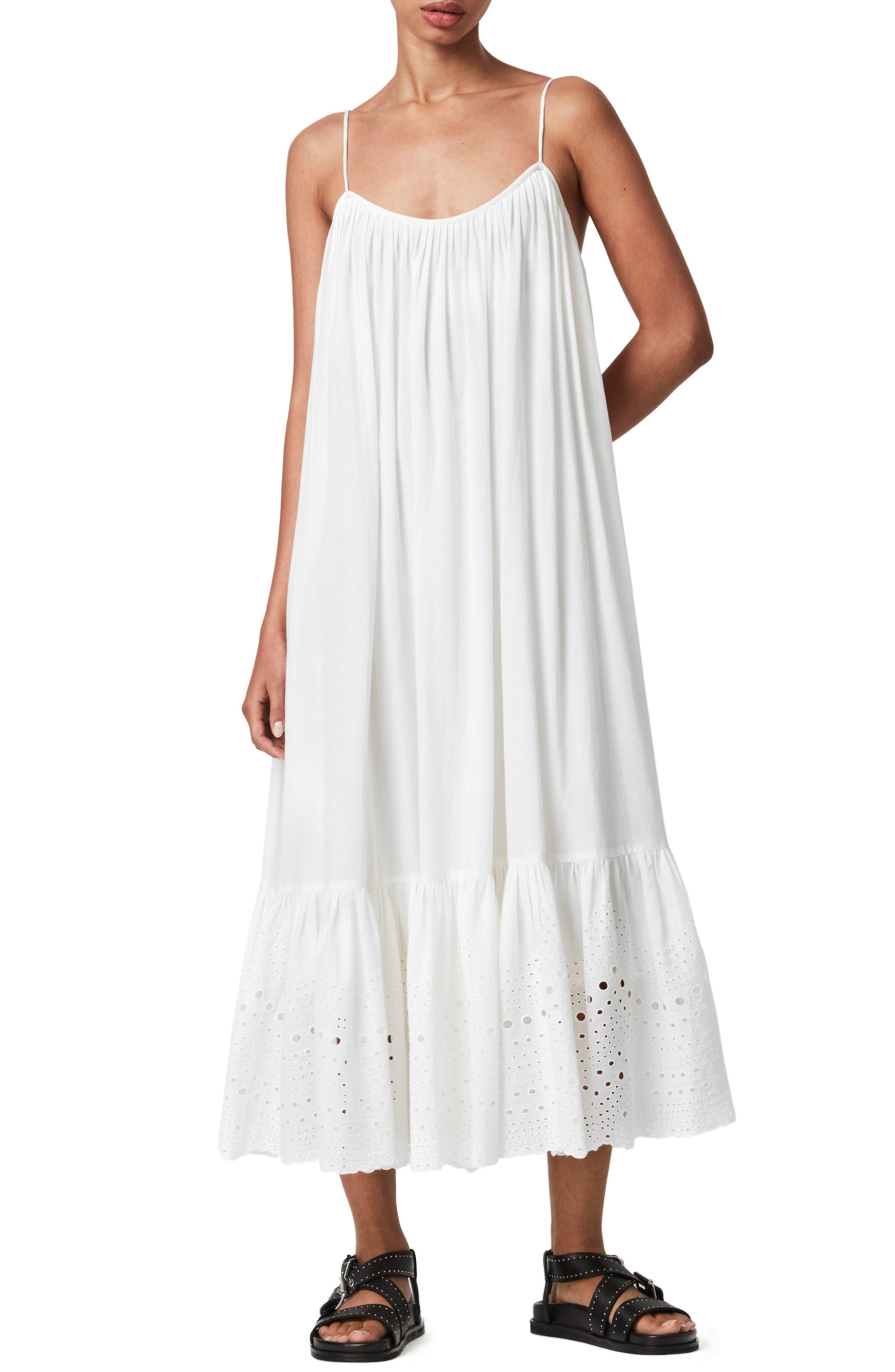 ALLSAINTS Paola Cotton Eyelet Trim Midi Dress   Nordstrom