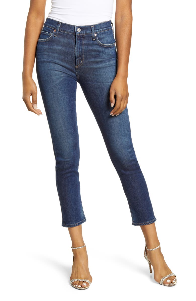 CITIZENS OF HUMANITY Harlow High Waist Ankle Slim Jeans, Main, color, GLEAMS
