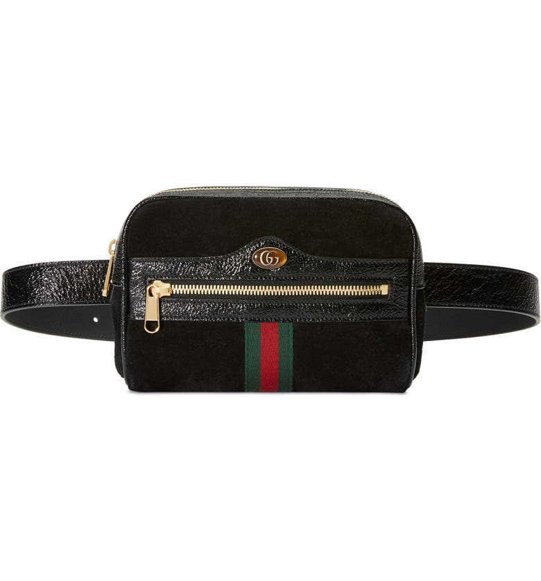 GUCCI Ophidia Small Suede Belt Bag, Main, color, NERO/ NERO/ VERT RED VERT