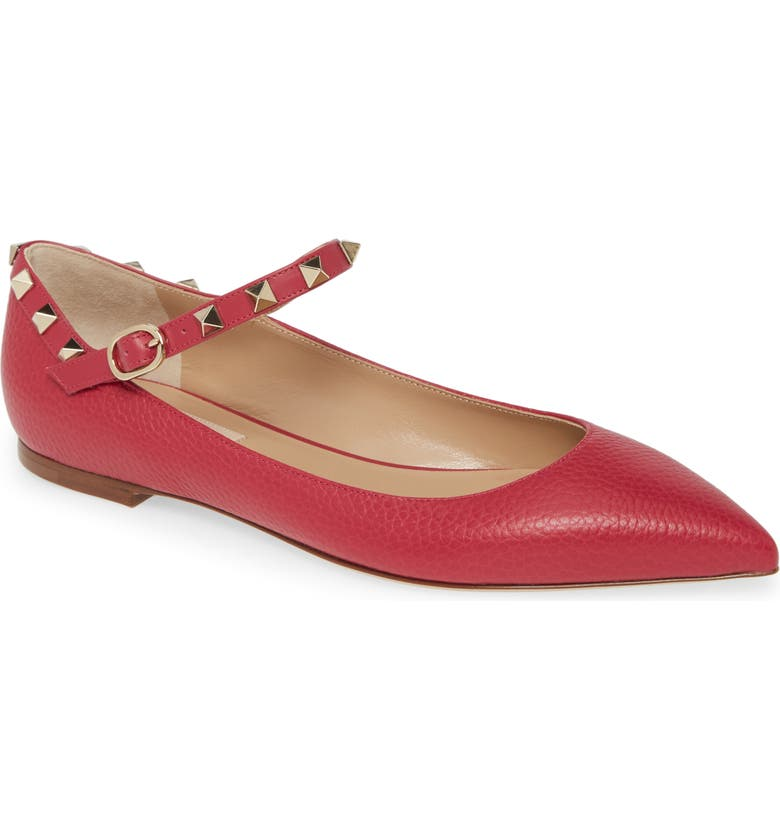 VALENTINO GARAVANI Rockstud Mary Jane Pointed Toe Flat, Main, color, 650