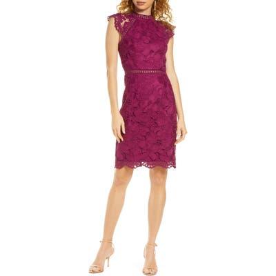 Chi Chi London Eleya Lace Cocktail Dress, Purple