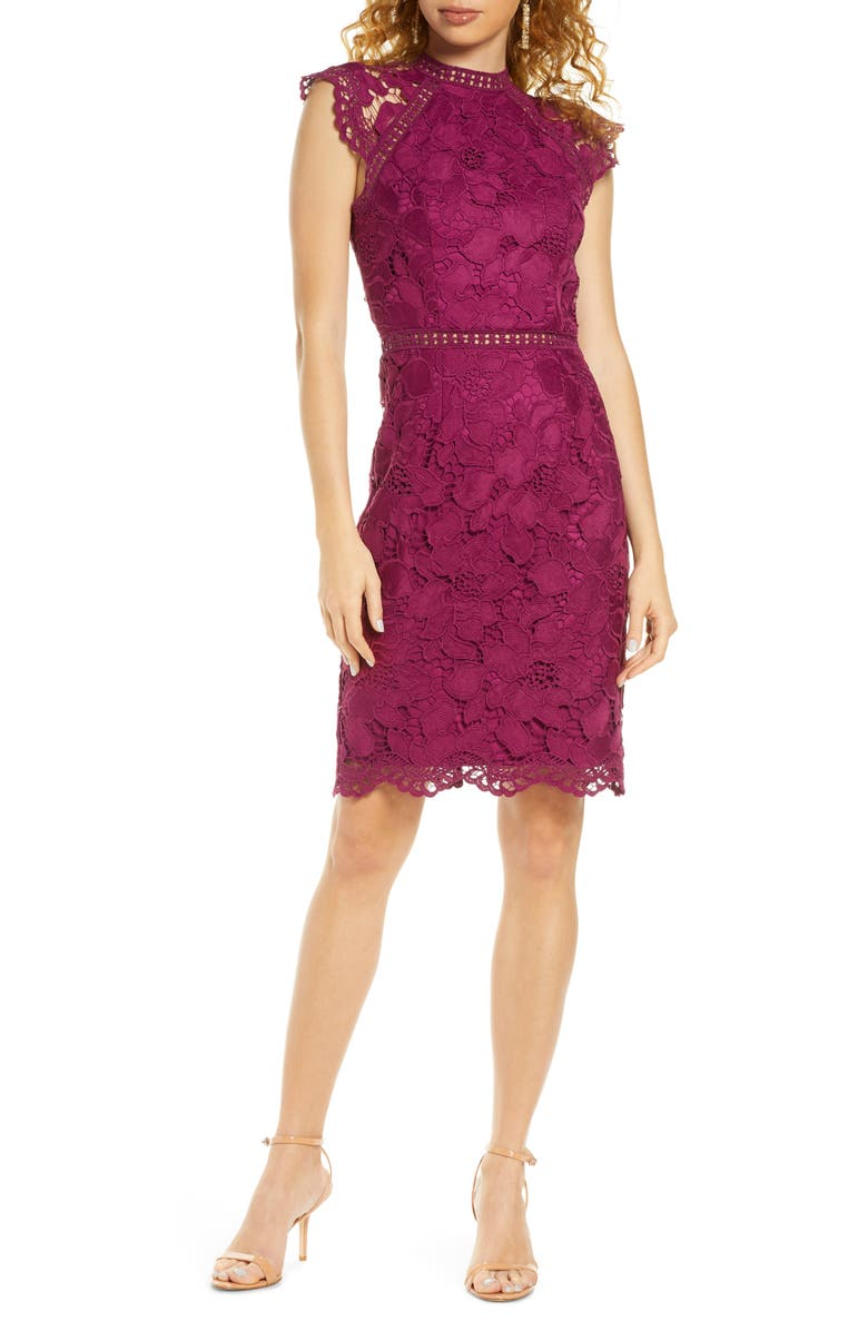 CHI CHI LONDON Eleya Lace Cocktail Dress, Main, color, 500