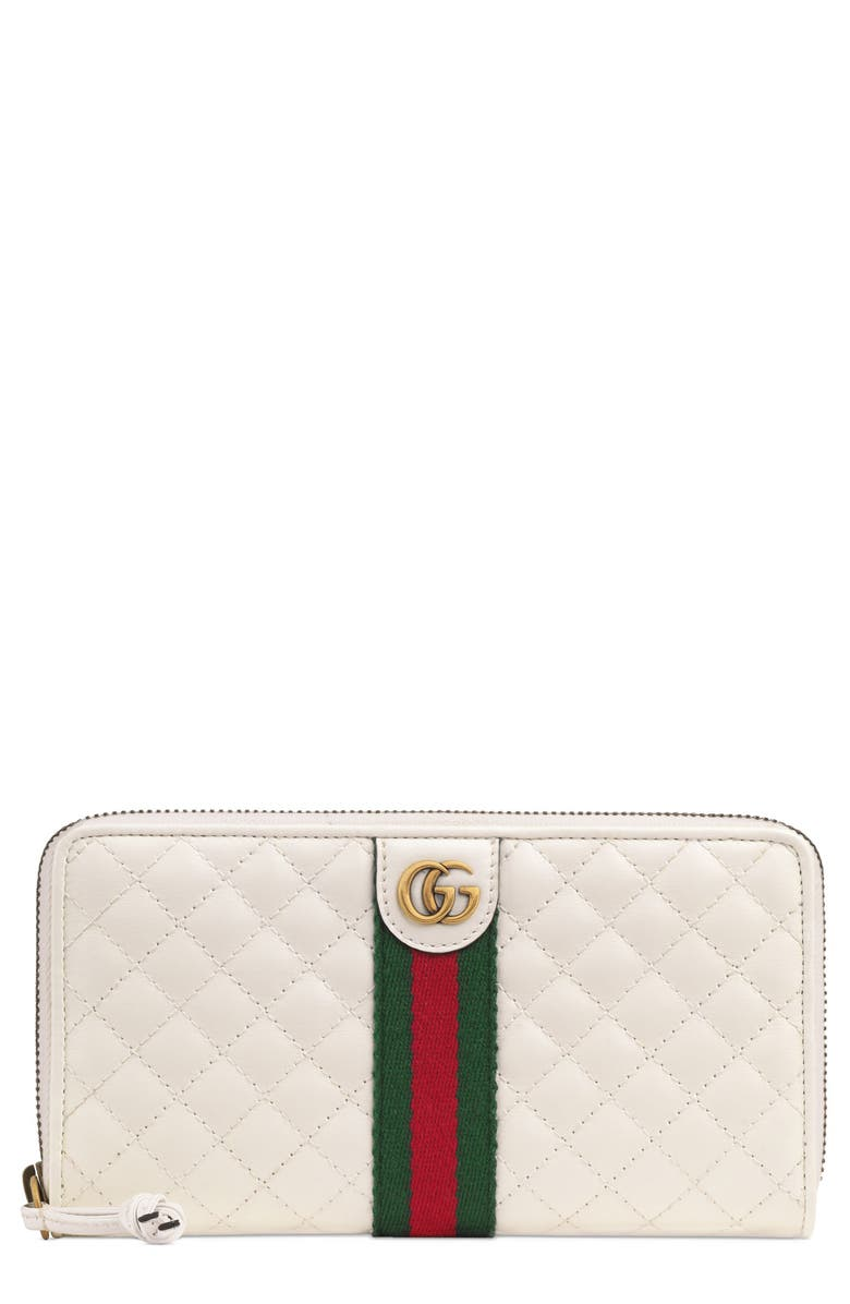 GUCCI Quilted Leather Zip Around Continental Wallet, Main, color, OFF WHITE/ VERT/ RED