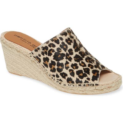 Patricia Green Genuine Calf Hair Espadrille Wedge Slide Sandal, Brown