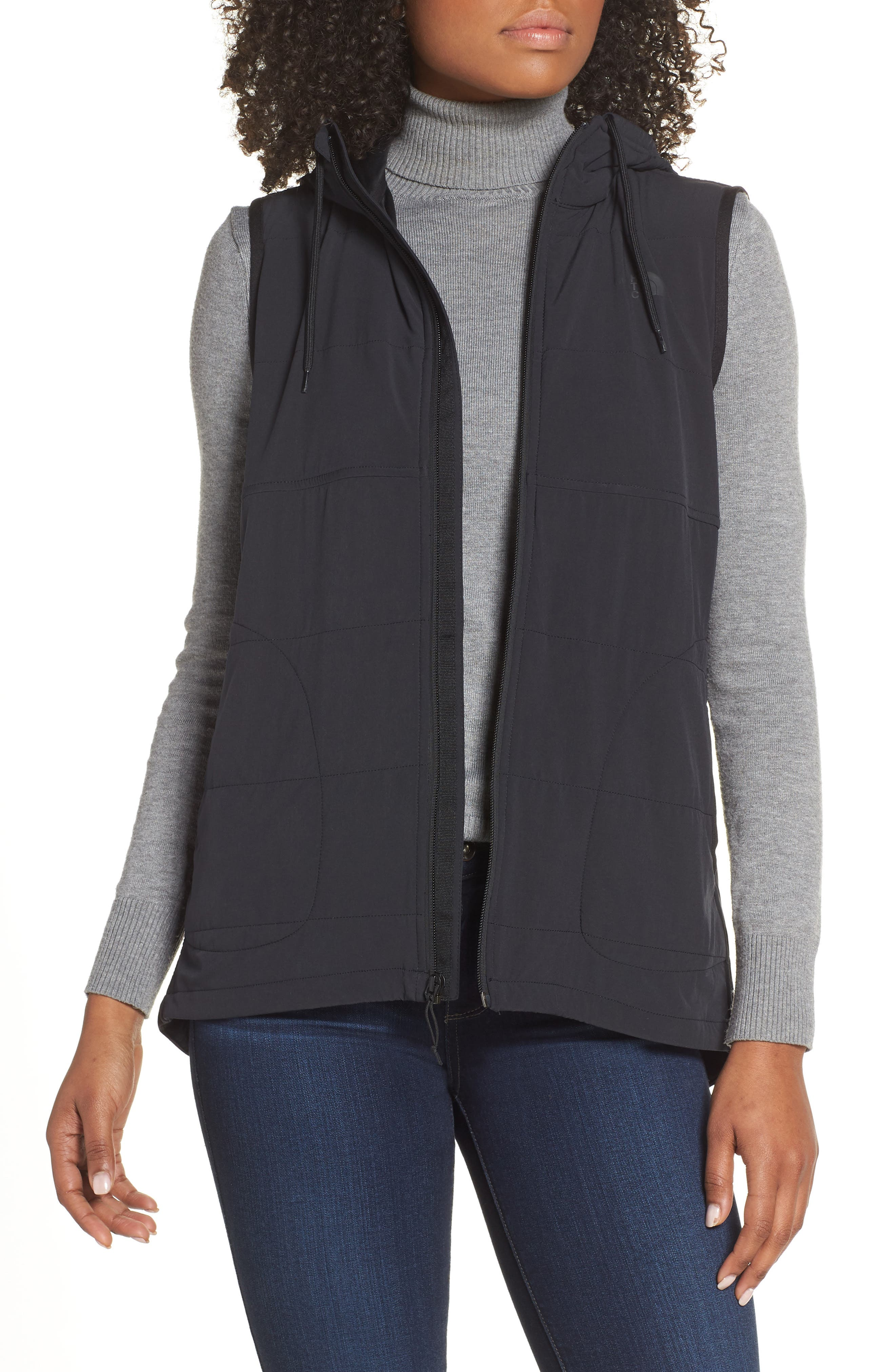 The North Face Mountain Insulated Zip Hooded Vest, Black