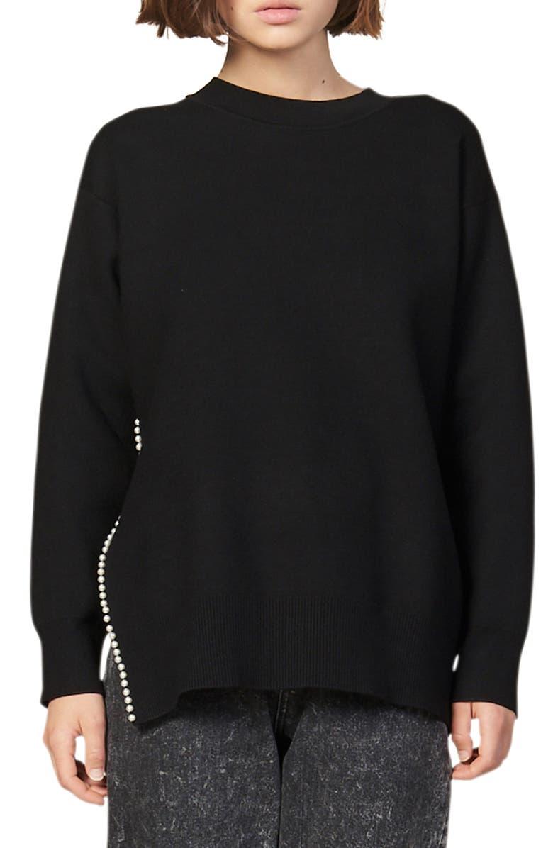 SANDRO Imitation Pearl Trim Sweater, Main, color, BLACK