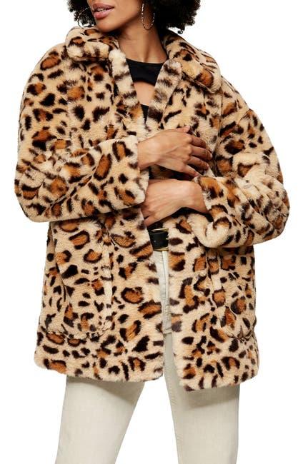 Image of TOPSHOP Eddie Leopard Pattern Faux Fur Jacket