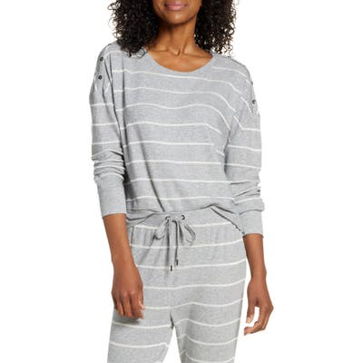 Splendid Stripe Pajama Top, Grey