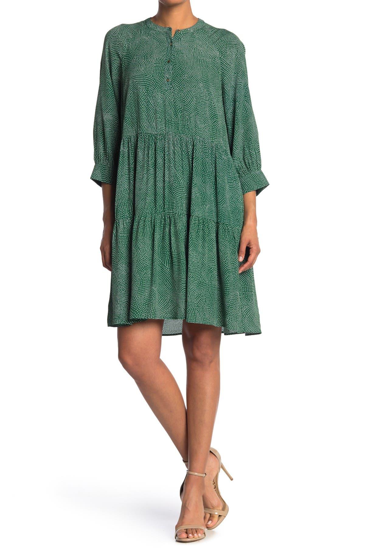 Image of MELLODAY Long Sleeve Tiered Hem Dress