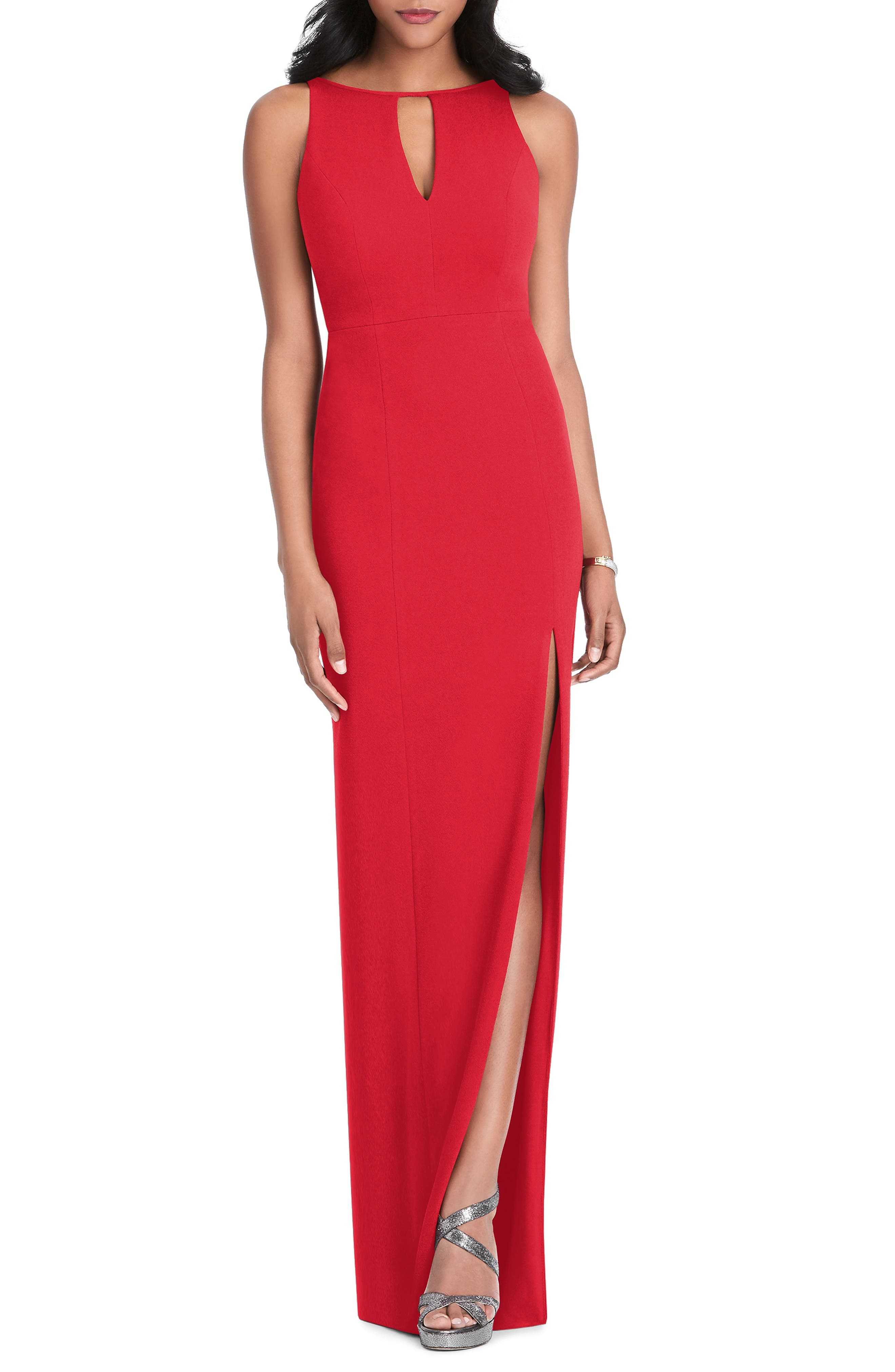 After Six Stretch Crepe Gown, Red