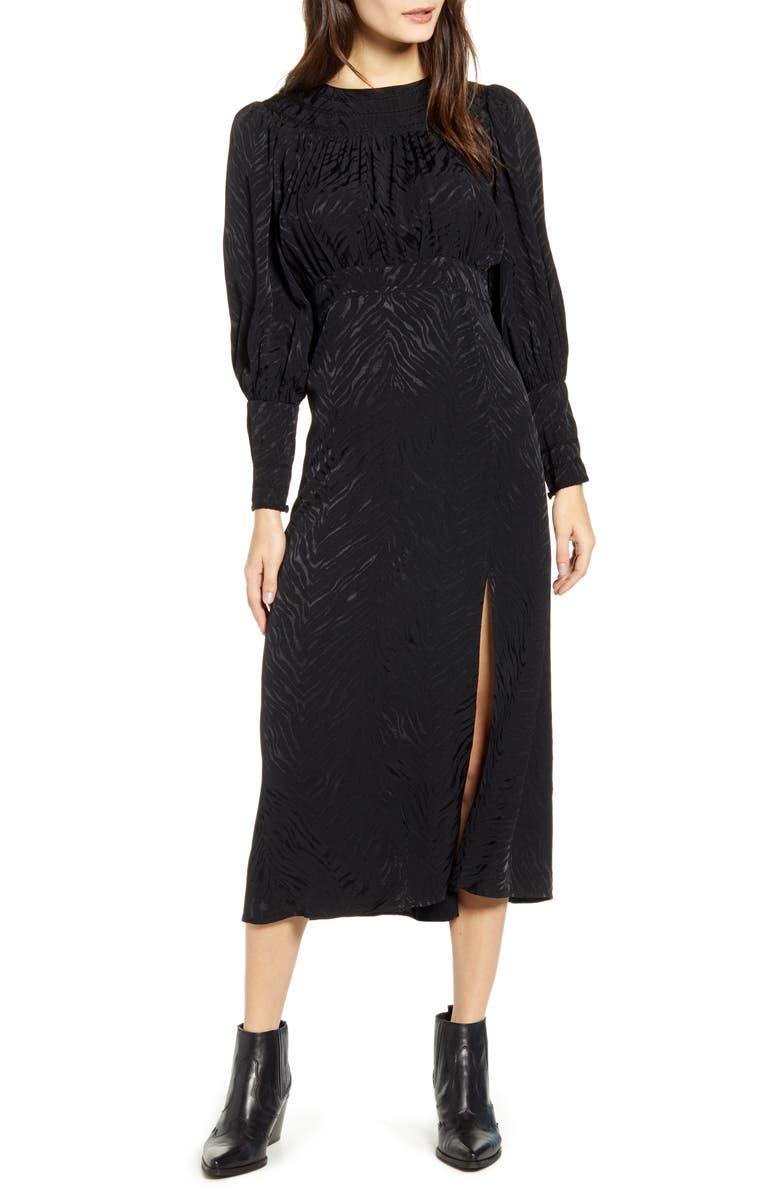 TOPSHOP Fallen Long Sleeve Jacquard Midi Dress, Main, color, BLACK