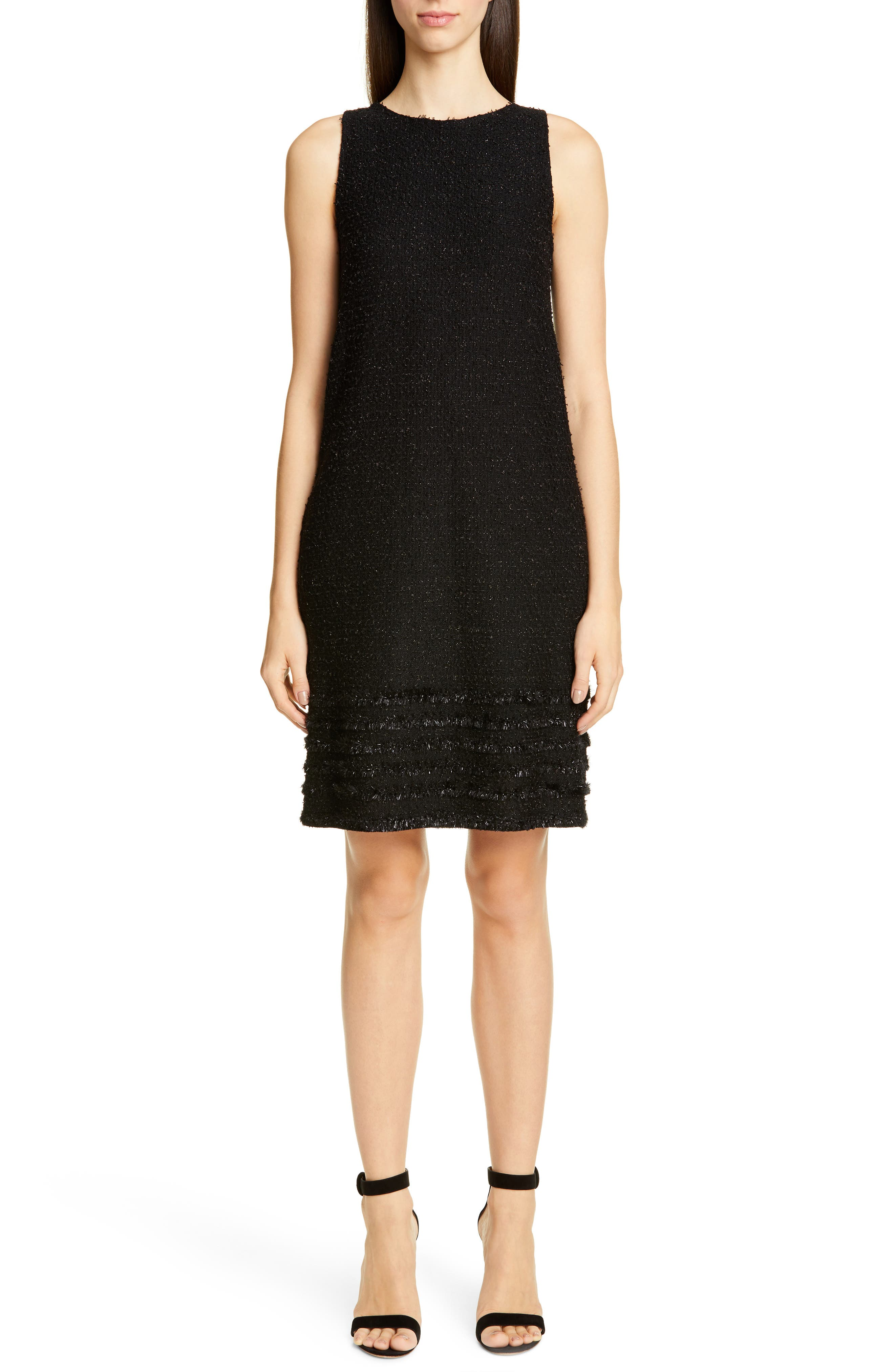 St. John Collection Glimmering Textured Tweed Shift Dress, Black