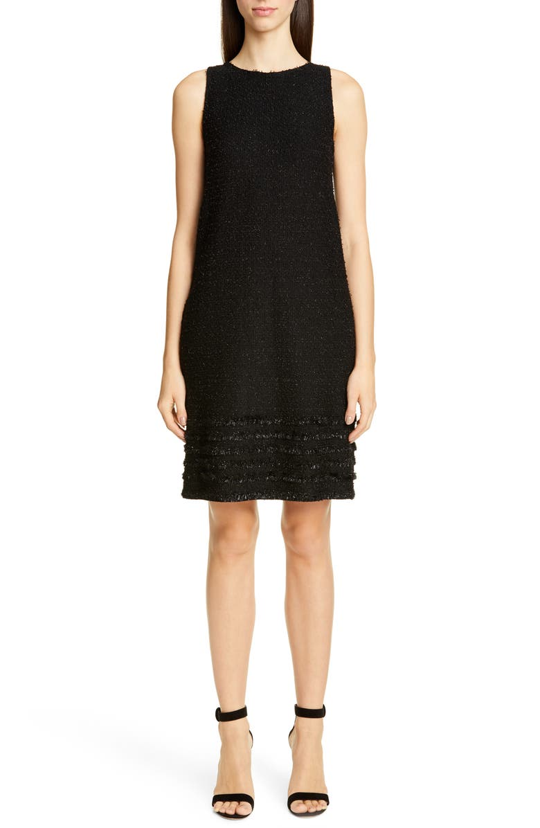ST. JOHN COLLECTION Glimmering Textured Tweed Shift Dress, Main, color, CAVIAR