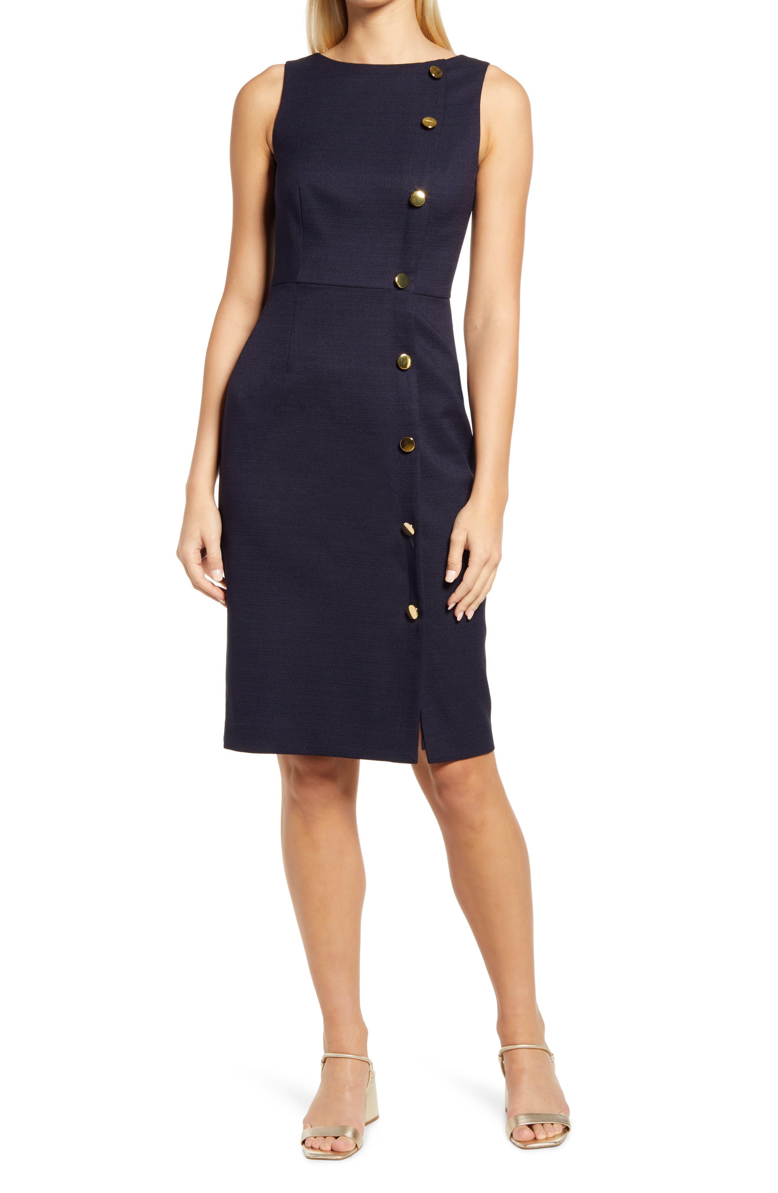 Button Detail Sleeveless Sheath Dress
