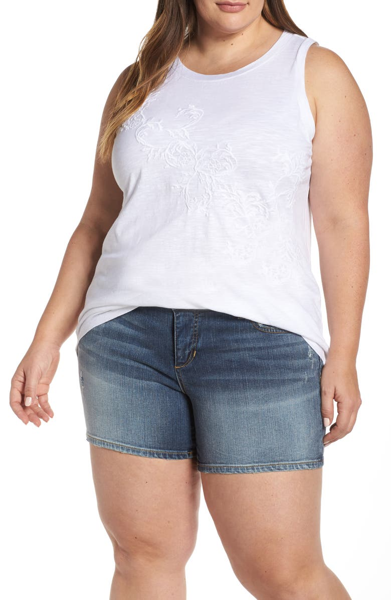 Caslon Embroidered Tank Plus Size