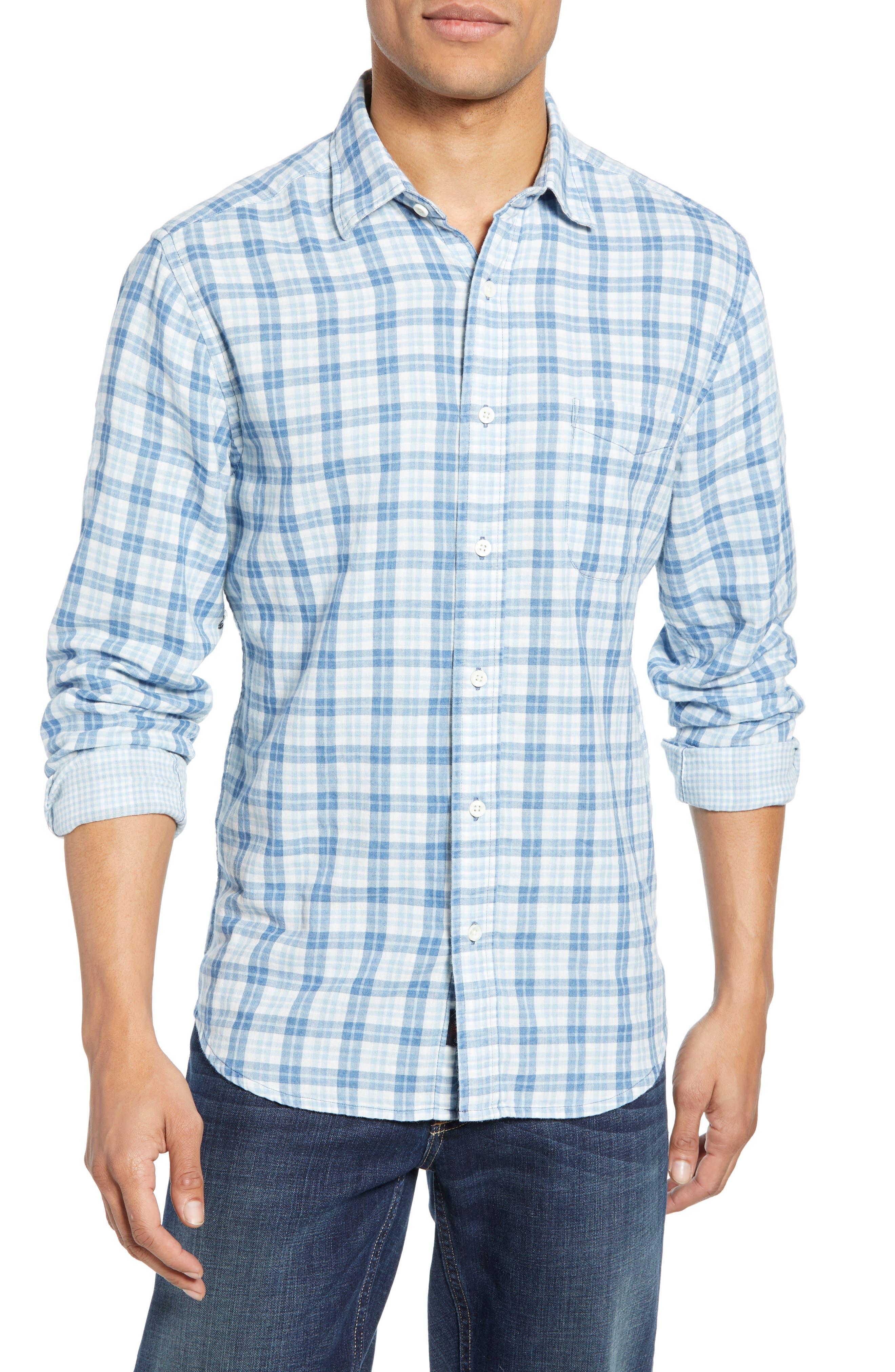 Faherty Ventura Regular Fit Plaid Double Face Sport Shirt, Blue