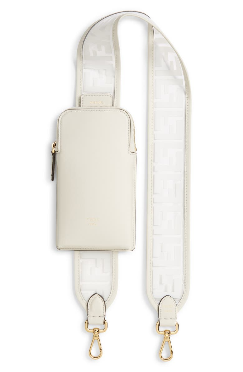 FENDI Logo Strap Leather Phone Case, Main, color, BIANCO/ ORO SOFT