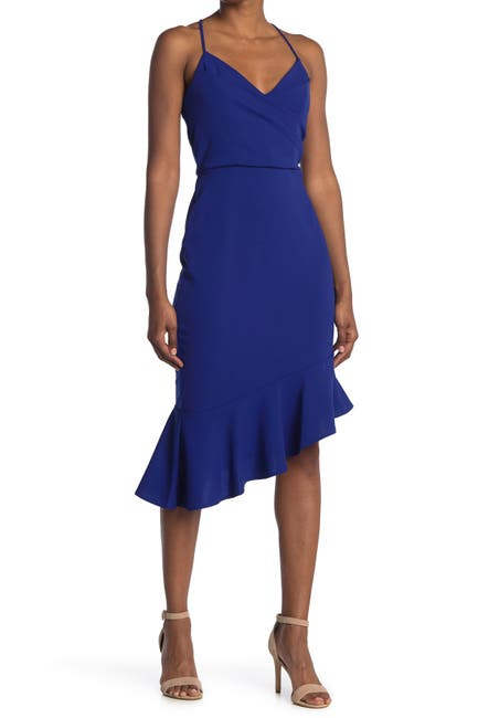 Image of bebe Cross Strap Flounced Midi Dress