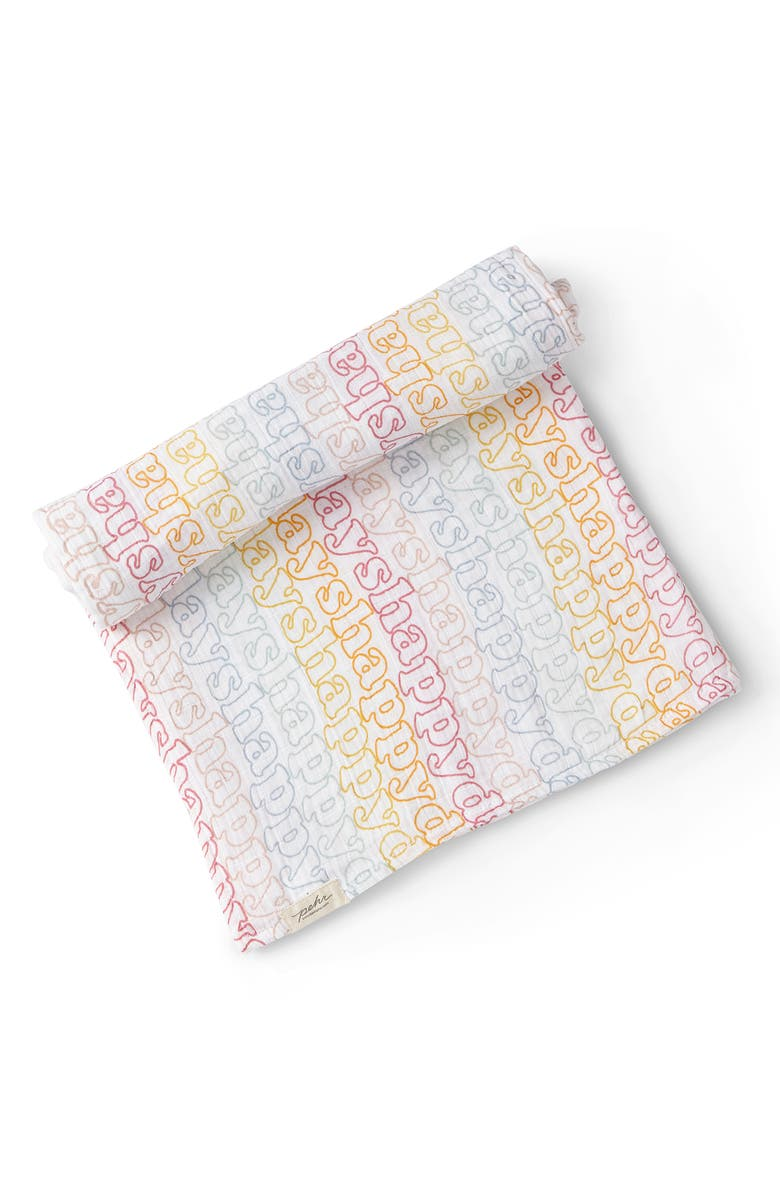 PEHR Happy Days Organic Cotton Swaddle Blanket, Main, color, 100