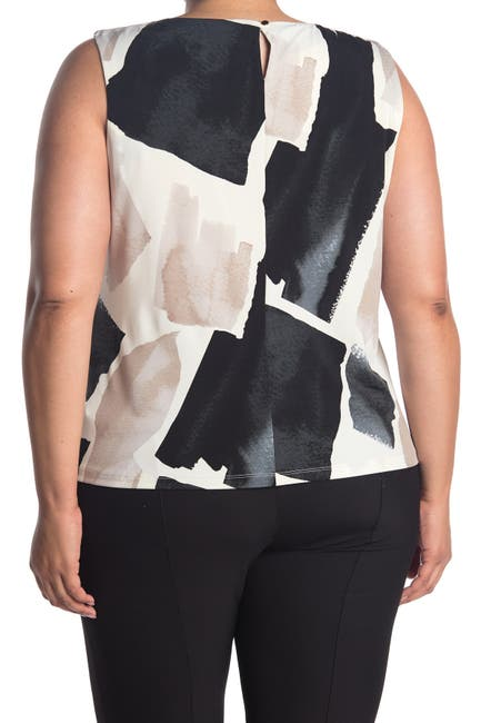 Image of Calvin Klein Abstract Print Pleated Sleeveless Top