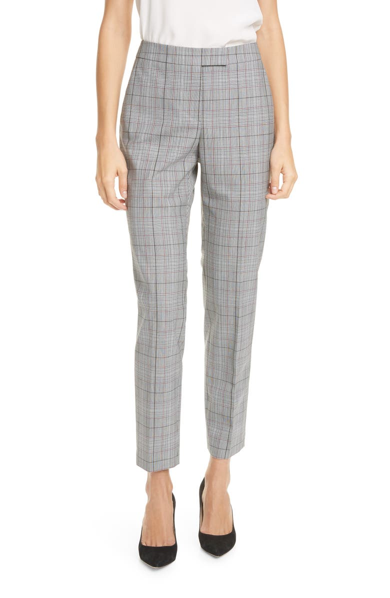 JUDITH & CHARLES Clive Windowpane Plaid Trousers, Main, color, BLACK/ WHITE