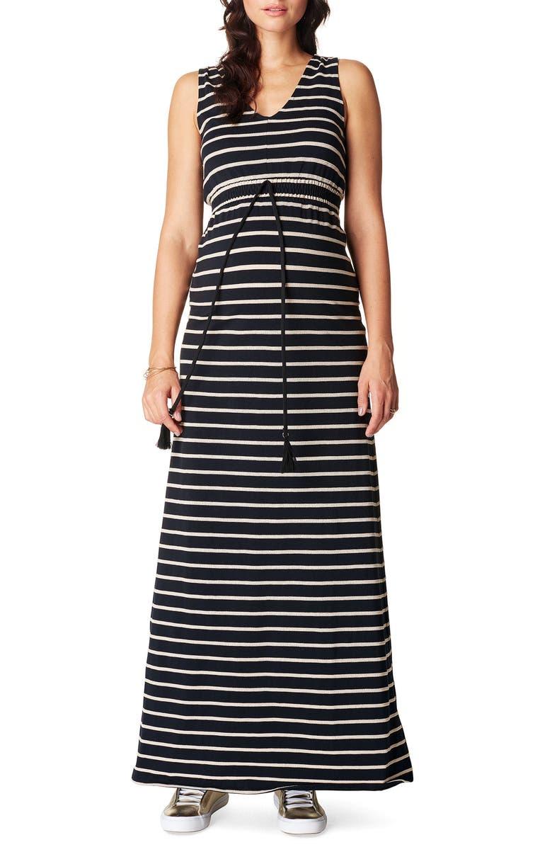 NOPPIES Mila Maternity Maxi Dress, Main, color, BLACK