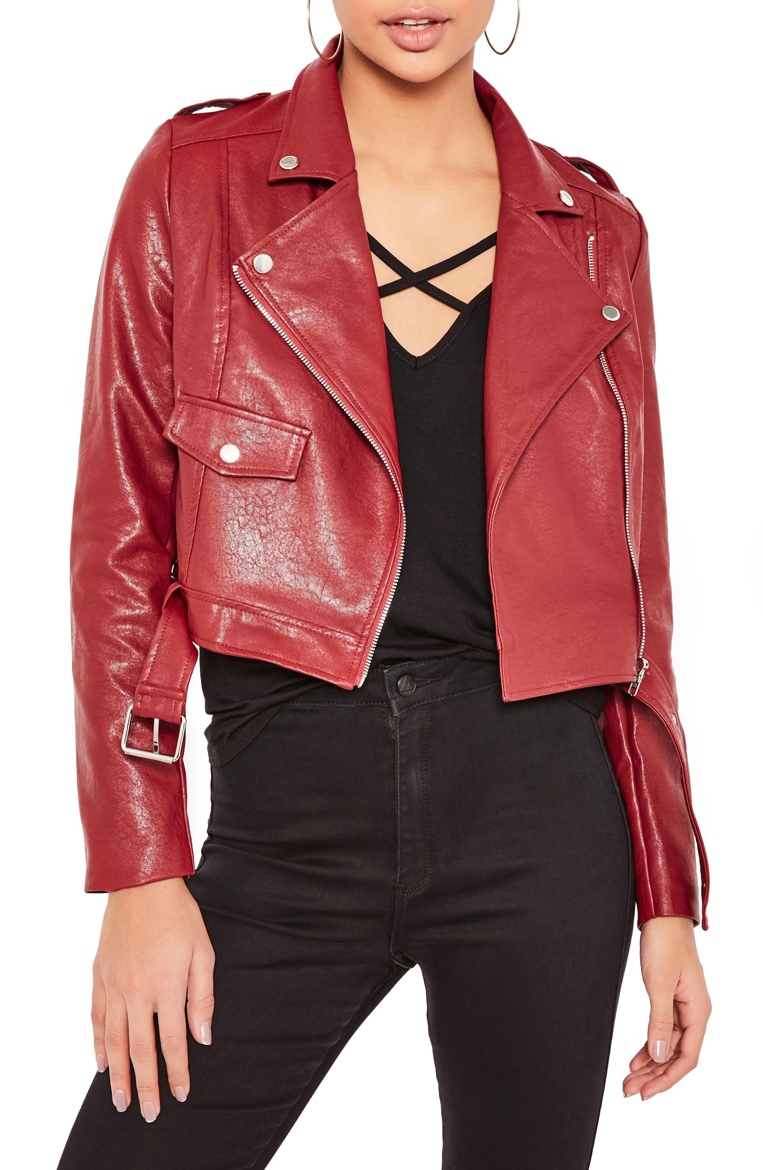 ,                             Faux Leather Moto Jacket,                             Main thumbnail 1, color,                             930