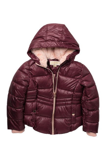 Image of Michael Kors Heavyweight Faux Fur Lined Puffer Jacket