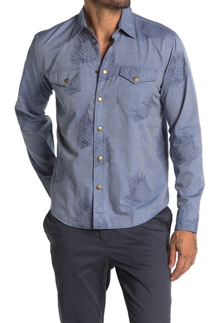 Image of Billy Reid Embroidered Pine Cone Snap Front Shirt
