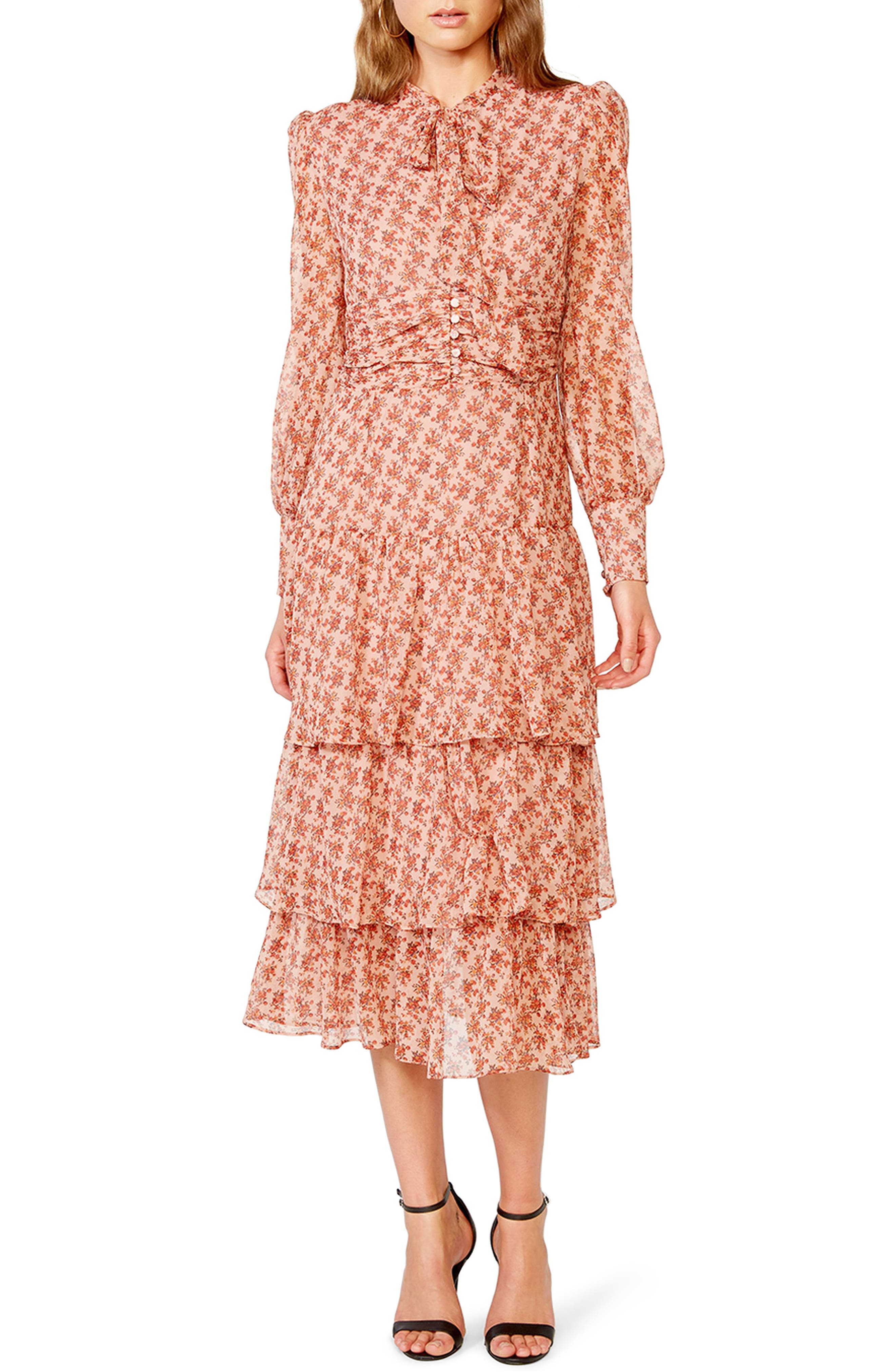 1930s Style Clothing and Fashion Womens Bardot Lainey Floral Long Sleeve Tiered Chiffon Maxi Dress $189.00 AT vintagedancer.com