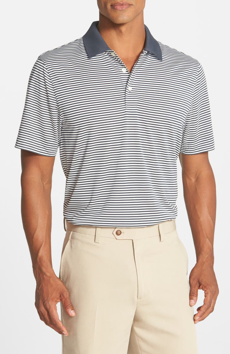 CUTTER & BUCK Trevor Stripe DryTec Polo, Main, color, ONYX/ WHITE
