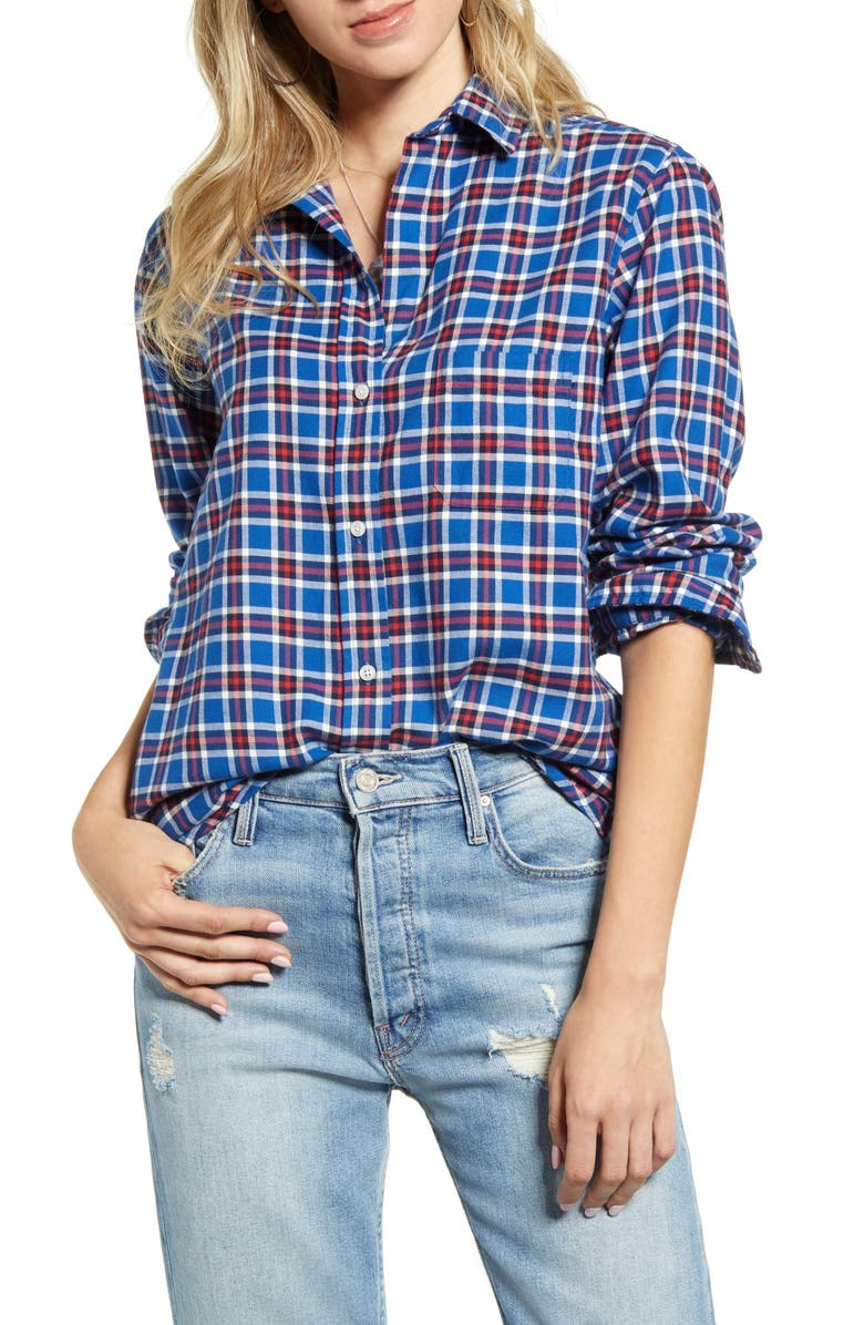 GRAYSON The Hero Plaid Feathered Cotton Flannel Shirt, Main, color, LUCY