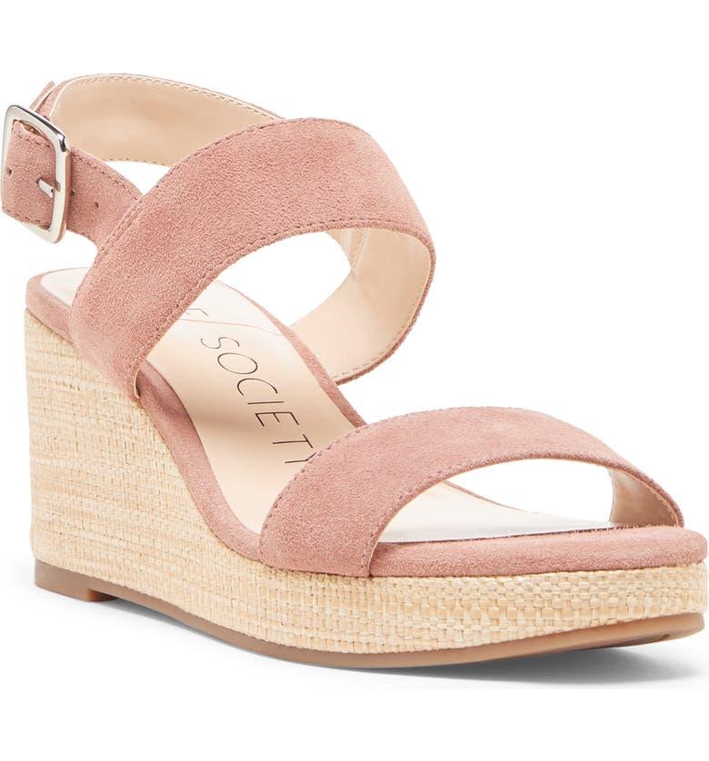 SOLE SOCIETY Cimme Wedge Sandal, Main, color, MOD MAUVE SUEDE