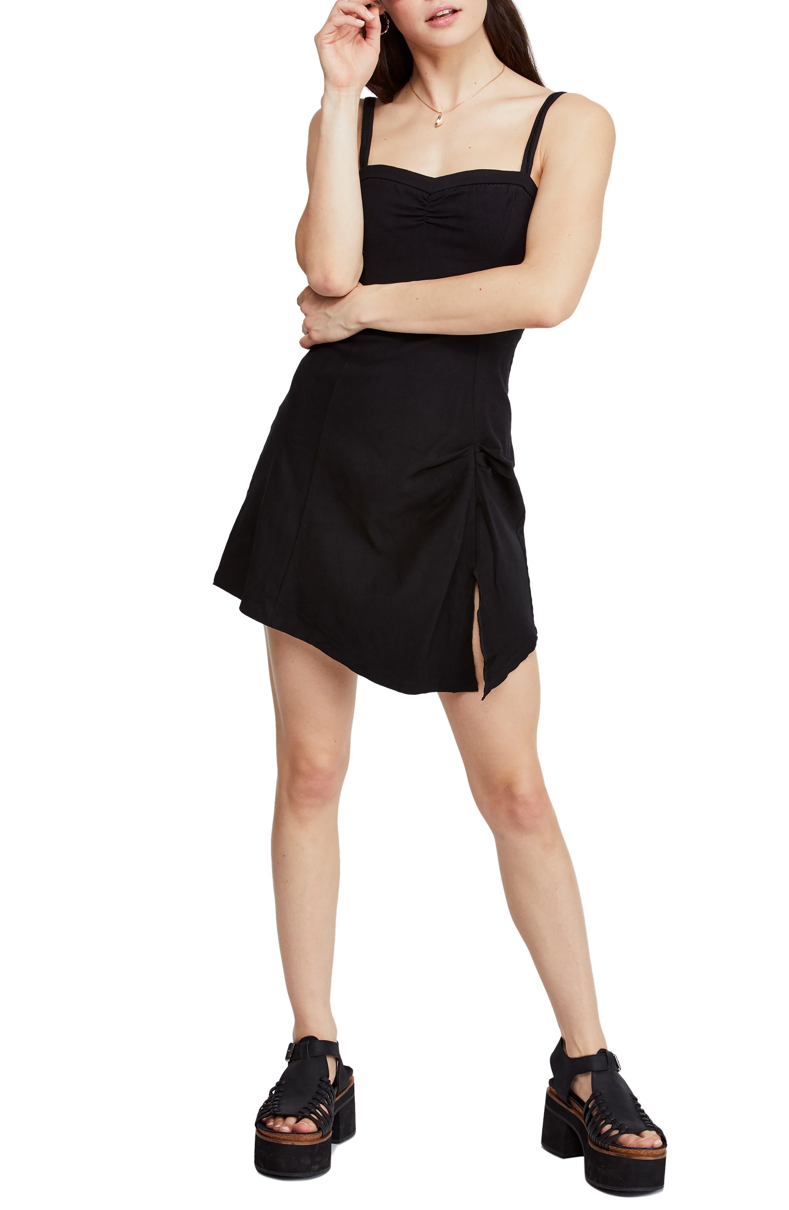 Free People Monroe Asymmetrical Minidress, Black