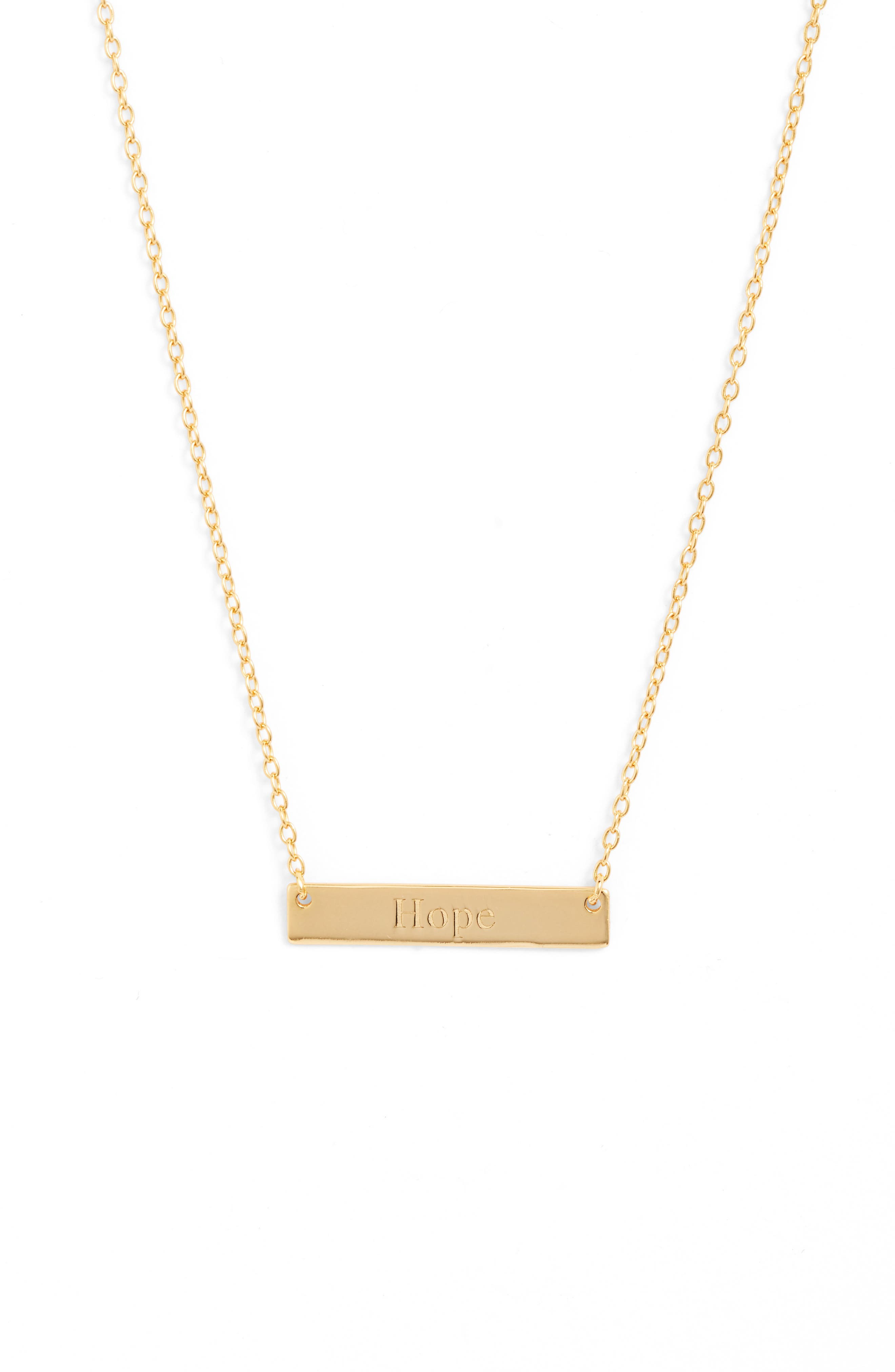 A simple design featuring a gleaming bar pendant embossed with an inspiring message defines this understated necklace. Style Name: Sterling Forever Hope Bar Pendant Necklace. Style Number: 5904767. Available in stores.