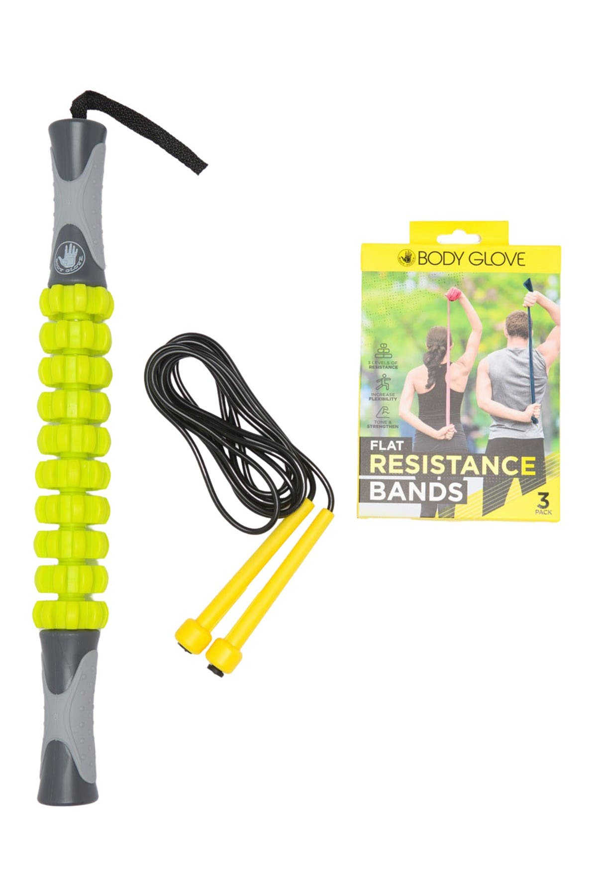 Image of Merkury Innovations Massage Roller, Jump Rope, & Resistant Bands 5-Piece Bundle