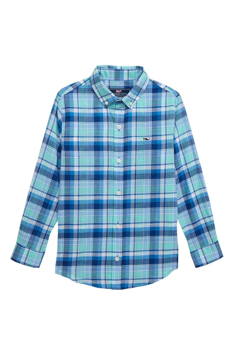 VINEYARD VINES Poplin Plaid Whale Shirt, Main, color, CAPRI BLUE